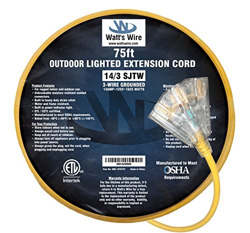 (75-ft 14/3 Heavy Duty 3-Outlet Lighted SJTW Indoor/Outdoor Extension Cord by Watt's Wire - Yellow 75' 14-Gauge Grounded 12-Amp Three-Prong Power-Cord (75 foot 14-Awg))