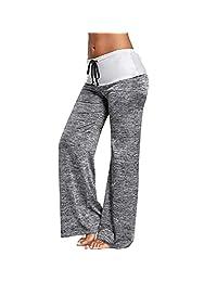 Jiayiqi Women Pants Loose Baggy Yoga Long Pants Solid Wide Leg Pants S-2XL
