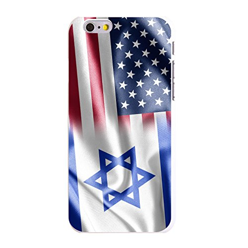 - DistinctInk Case for iPhone 6 / 6S (NOT Plus) - Custom Ultra Slim Thin Hard White Plastic Cover - US Israel Flag Waving - Show Your Love of Israel