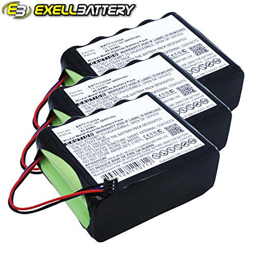 3pc 12V 3800mAh Medical Batteries For Fukuda 10TH-2400A-WC1-1, BATT/110354 by Exell Battery