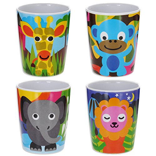 French Bull Kids Juice Cup Set of 4 - BPA-Free, Transition, Animals, Toddler, Durable, Drop Resistant - Jungle