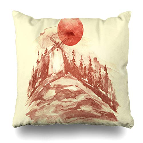 Ahawoso Throw Pillow Cover Pillowcase Red Beige Agriculture Watercolor Painting Mill Miller Abstract Bread Countryside Drawing Design Home Decor Design Square Size 16