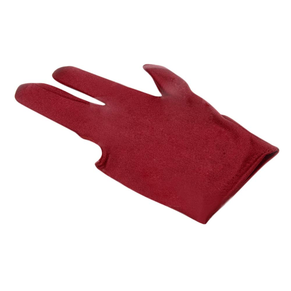 ShenPourtor Spandex Left Hand Three Finger Snooker Billiard Glove Wine Red