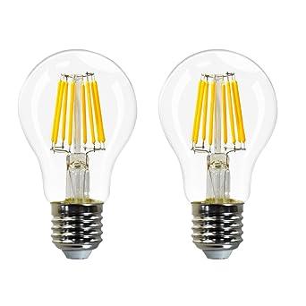 Lamparas Bombillas Globo de LED Filamento E27 Edison Decorativas 8W con Vidrio Transparente Iluminacion Luz Calida