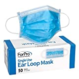 ForPro Single Use Ear Loop Mask, 3-Ply Disposable
