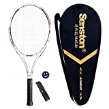 Senston Tennis Racket Professional Tennis Racquet,Good Control Grip,Strung with Cover,Tennis Overgrip, Vibration Damper(White)