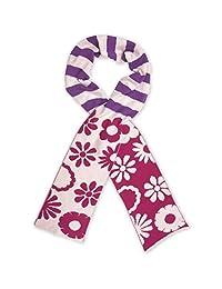 Jefferies Socks Girls Pink Daisy Purple Stripe Pattern Cotton Knit Scarf