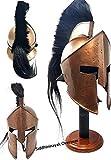 Medieval 300 King Leonidas Spartan Helmet Black Plume Copper Finish