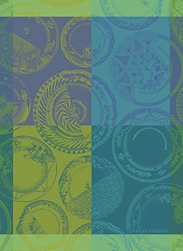 Garnier-Thiebaut, Assiettes et Couleurs (Plates & Colors) French Jacquard Kitchen/Tea Towel, 100 Percent -