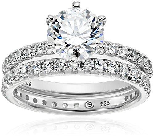 Platinum-Plated Sterling Silver Swarovski Zirconia Ring Set