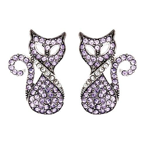 DaisyJewel Chantilly Pink Rhinestone Pave Cat Stud Earrings (Zip Back Nouveau)