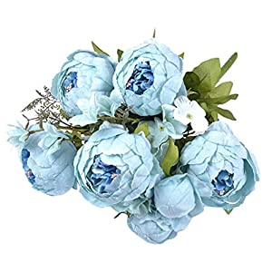 Baoblaze Artificial Silk Peony Fake Flower Leaf Plants Bouquet, Wedding Table Vase Arrangement Decoration, 13 Colors Available 15