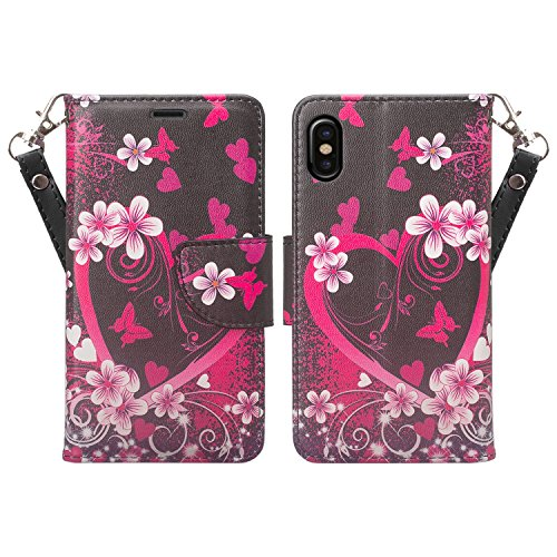 Lighweight Slim Leather Wallet Pocket Fold Self-Stand Case Cover for Apple iPhone X [Pink Flowers] (Corsage Pinks Purse)