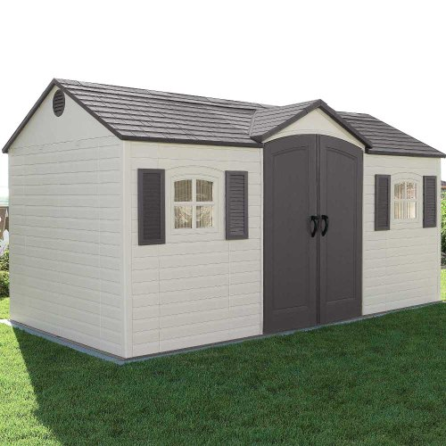 lifetime 6446 15x8ft outdoor storage shed with shutters windows and skylights