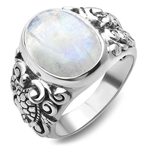 (Chuvora 925 Sterling Silver Natural Moonstone Gemstone Filigree Sea Turtle Band Ring Size 8)