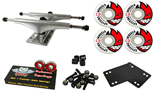 同じ平手打ちエスニックOwlsome 5.0 光沢アルミニウムスケートボード トラック スピットファイア ビギード 52mmホイールコンボセット