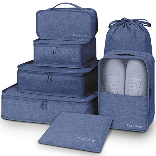 Packing Bags,Mossio 7 Set Lightweight Outdoor Suitcase Cubes with Laundry Bag Navy Blue