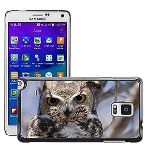 GoGoMobile Etui Housse Coque de Protection Cover Rigide pour // M00123485 Virginianus del bubón Pájaro Jefe // Samsung Galaxy Note 4 IV