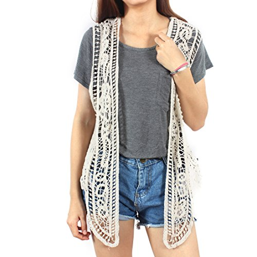 ity Open Stitch Cardigan Boho Hippie Crochet Vest (Beige), Large ()