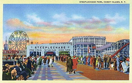 (Coney Island, New York - Steeplechase Park View (24x36 SIGNED Print Master Giclee Print w/Certificate of Authenticity - Wall Decor Travel Poster))