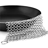 KANJIAN Cast Iron Cleaner, Cast iron Skillet Cleaner Chainmail - XL 8''x6'' Stainless Steel 316L pot Cookware chainmail Scrubber Skillet Scraper
