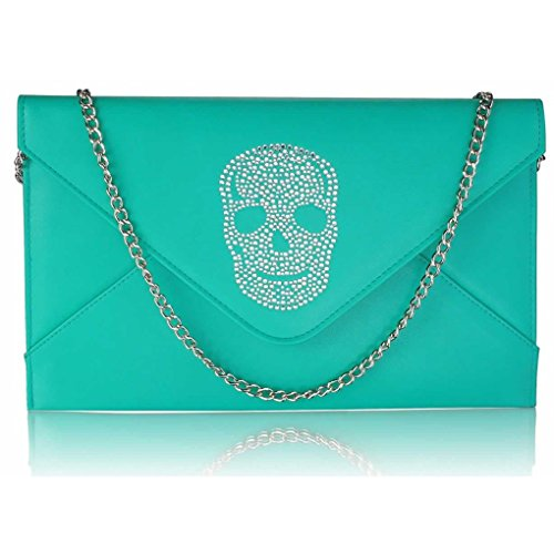 FLAP CWE00228 Clutch LeahWard Skull Women's Diamante Handbag Bag Crystal Flap SKULL EMERALD 7qPfO8