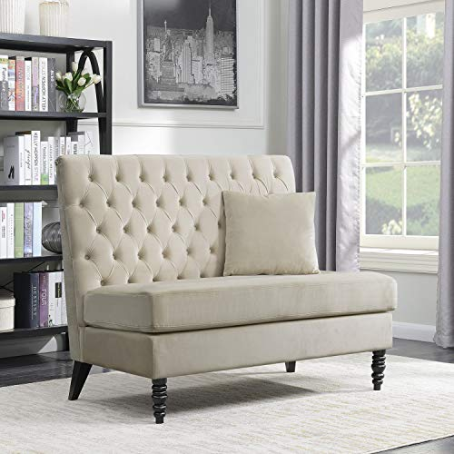 Black Modern Loveseat Leather (Belleze Beige Velvet Modern Loveseat Bench Sofa Tufted High Back Love Seat Bedroom Settee)