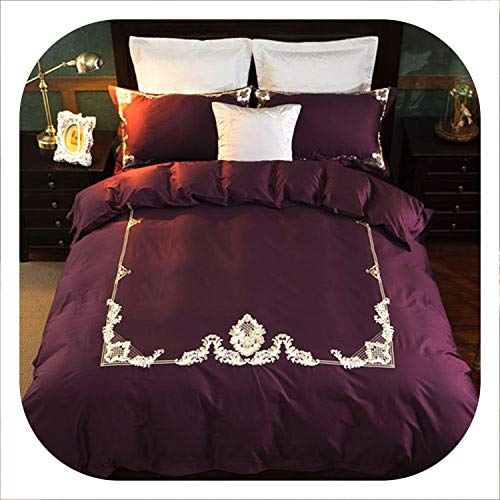 Egyptian Cotton Bedding Sets White Embroidery Bed Linen Duvet Cover Bed Sheet Pillow case Set King Queen Size,9,Queen Size 4pcs