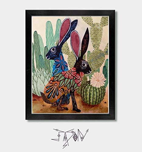 Under The Sonoran Sun - Southwestern Decor, Mexican Folk Art, Southwest Decor, Boho Home, Talavera, Mexico, Mexican, Cactus Print, Cactus Decor, Arizona, Texas, New Mexico, Nevada, California, Rabbit
