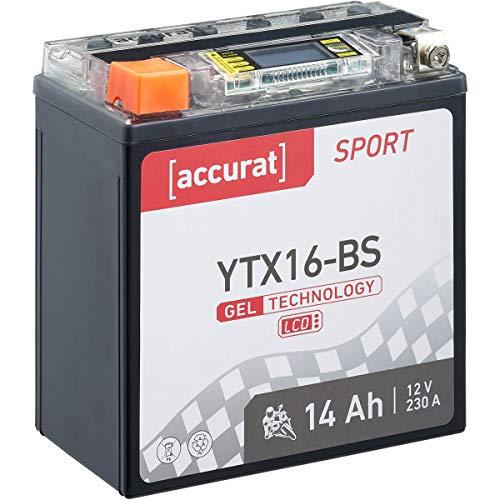 Accurat motorfiets-accu YTX16-BS 14 Ah 230 A 12V gel-technologie + lcd-display startaccu krachtig robuust…