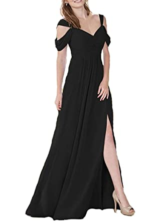 1ae100c61f15 Firose Off The Shoulder Bridesmaid Dresses Long Chiffon Split Prom Gown 2  Black