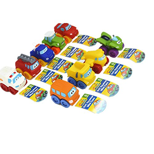 Car Toys BPA FREE ( set of 9) Mini Soft Vehicles Brilliant Basics Baby Toys for Kids