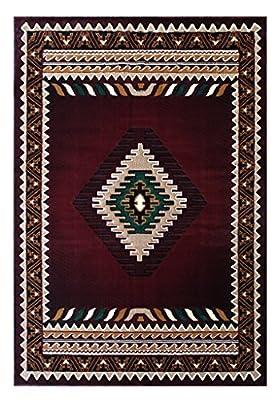 South West Native American Rug Burgundy Design #143