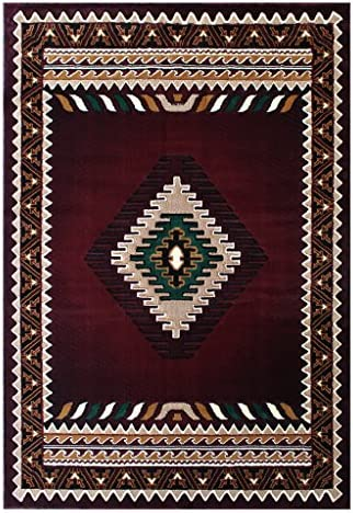 South West Native American Rug Burgundy Design 143 3 Feet 10 Inch X 5 Feet