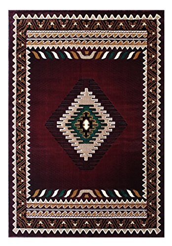 South West Native American Rug Burgundy Design #143 (8 Feet X 10 Feet)