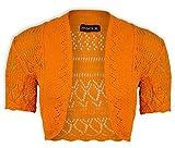 Jolly Rascals Girls Crochet Bolero Shrug Kids Knitted Short Sleeve Cardigan Orange 5-6 yrs