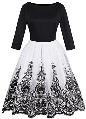 Dear-Queen Women's Elegant Vintage Floral Retro Dress Tank Sleeveless Slash Printed Party Beach Dress (XX-Large, Black long sleeve) ()