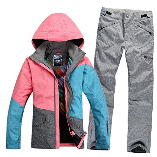 Women's Waterproof Windproof Snowboard Suit Ski Coat and Pants Large