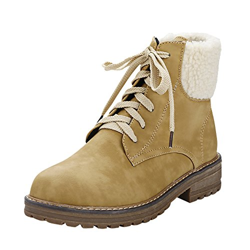 Latasa Womens Lace up Chunky Heels Ankle High Oxford Boots Dark Yellow ljturtwJO