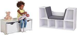KidKraft Nantucket Storage Bench - White & Bookcase with Reading Nook Toy, White, 46.46%22 x 15.16%22 x 5.04%22