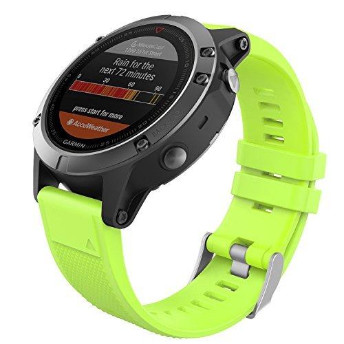 MoKo Garmin Fenix 5 Quick Fit 22mm Watch Band, Soft Silicone Replacement Strap for Garmin Fenix 5/5 Plus/Fenix 6/6 Pro/Instinct/Forerunner 935/Aproach S60 Smart Watch, Green