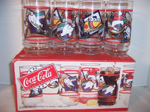 8 Pc Coca-cola Winter Polar Bear Drinkware