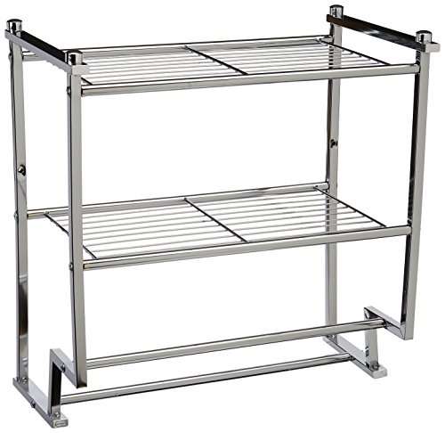 - Organize It All Chrome 2 Tier Wall Mounting Bathroom Rack with Towel Bars