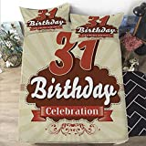 Eggshell Mattress Topper Queen Mattress Cover King size 3D Printed Decorative Quilted 1 Piece Coverlet Set with 2 Pillows,31st Birthday Decorations,Old Fashioned Retro Celebration Label,Brown Burdy Eggshell,12