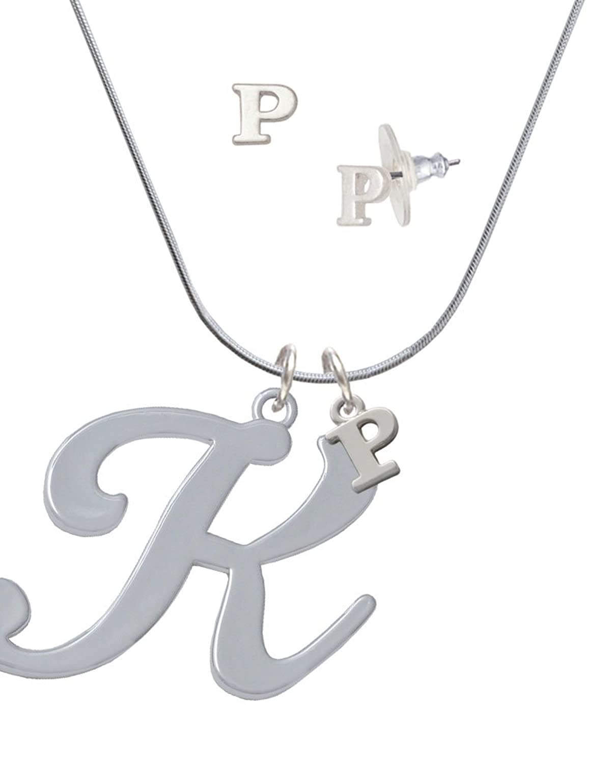 Large Gelato Script Initial - K - - P Initial Charm Necklace and Stud Earrings Jewelry Set