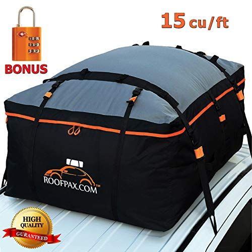 RoofPax Car Roof Bag & Rooftop Cargo Carrier  15 Cubic Feet Heavy Duty Bag, 100% Waterproof Excellent Military Quality Roof-Top Car Bag - Fits All Cars with/Without Rack - 4 Door Hooks Included