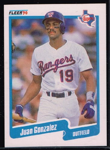 1990 MLB Baseball Card Fleer Juan Gonzalez Rookie Card #297 Texas Rangers