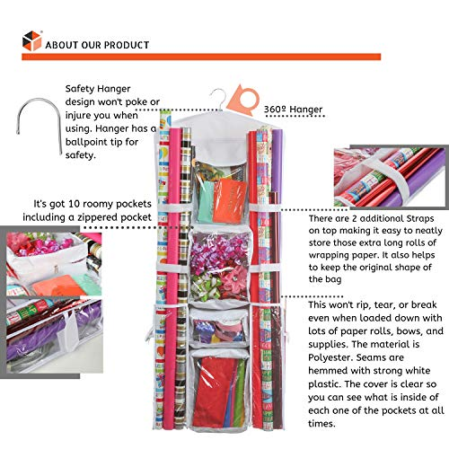 Clorso Vertical Wrapping Paper Storage Premium 40 Inch Hanging Gift Wrap  Organizer with 1 Bonus Door Hook and 8 Labels