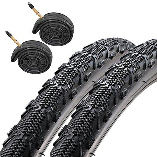 Duro Ellie Mae 700 x 35c CX Hybrid Bike Tyres Presta Tubes (Pair)