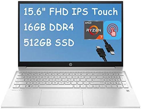 2021 Flagship HP Pavilion 15 Laptop Computer 15.6″ FHD IPS Touchscreen Display AMD Octa-Core Ryzen 7 4700U (Beats i7-10510U) 16GB DDR4 512GB SSD B&O Webcam BacklitWiFi Win 10 + iCarpHDMI Cable
